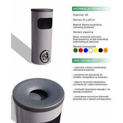 Kosz na śmieci popielnica stalowy średnica 24 cm karta produktu