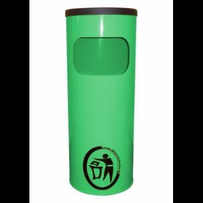 Kosz na śmieci popielnica stalowy średnica 24 cm kolor zielony