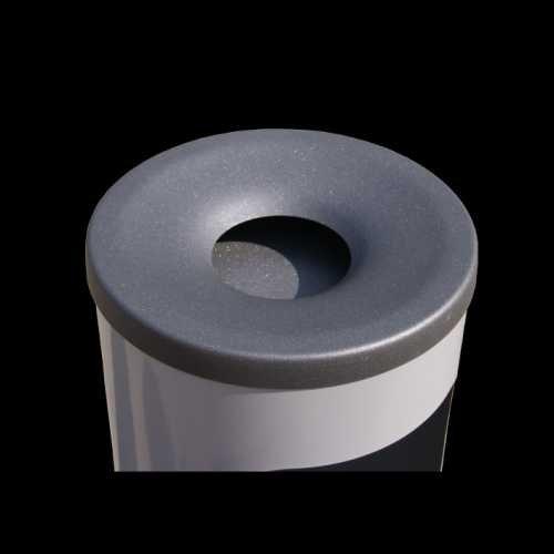 Kosz na śmieci popielnica stalowy średnica 24 cm kolor szary popiel