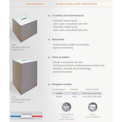 Urny wyborcze kartonowe urna 40x40 cm karta produktu