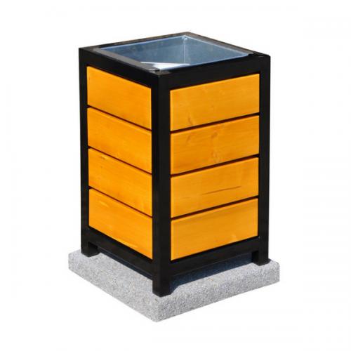 Kosz metalowo drewniany kwadratowy 40l litrów 69x43x49 cm